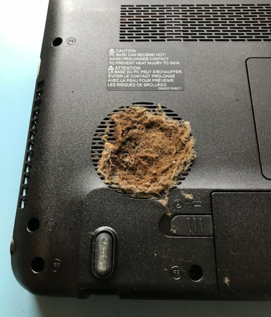 Laptop fan clogged up